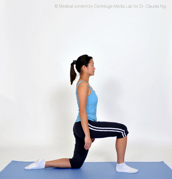 Perform lunge by bringing right leg forward and bend your knee to 90 degrees.  Alternate sides and repeat 10 times.