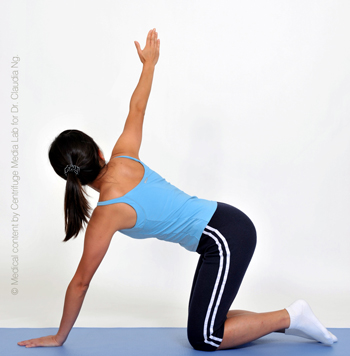 Place left hand in the middle as support.  Turn your body to the right with right arm reaching straight up.  Hold for 5 sec.  Repeat sequence for 10 times.