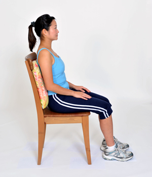 Good Posture - 1. Shoulders open and relaxed  2. Lower back in contact with chair or back support  3. Neck straight and in line with spine