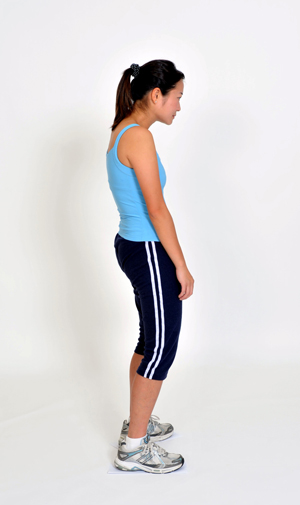 Bad Posture -1. Neck forward  2. shoulders hunched  3. Back slouched  4. Hips forward  5. Knees bent.
