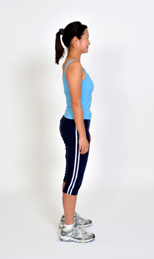 Good Posture - 1. Chin tucked in  2. Shoulders wide  3. Back straight  4. Abs flat  5. Legs straight