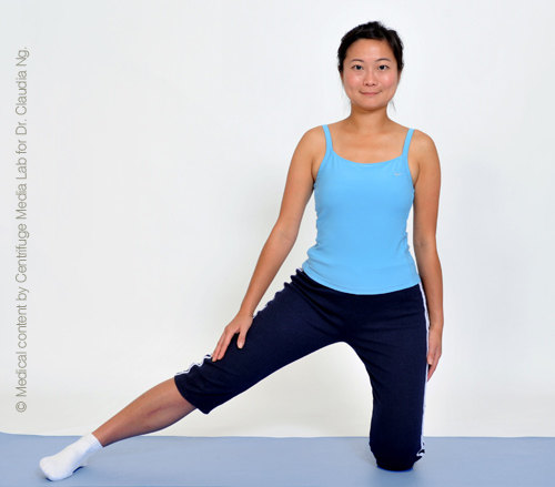 Kneel with one leg and stretch out the other by the side.  Feel the stretch on the inside of the straight leg.  Hold for 30 sec.  Repeat on other side.