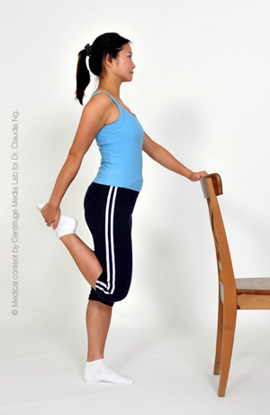 Standing with support, bend one knee and hold the foot at the back.  Feel the stretch at the front of thigh.  Hold for 30 sec.  Repeat on other side.