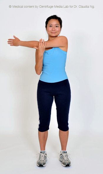 Put left arm across your chest and hold it with the right arm.  Feel the stretch over the outer side of the left shoulder and hold for 30 sec.