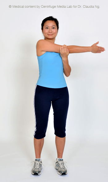 Put right arm across your chest and hold it with the left arm.  Feel the stretch over the outer side of the right shoulder and hold for 30 sec.
